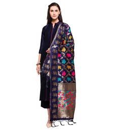Buy Navy Blue Marubeni Silk Semi-Stitched Salwar Kameez With Banarasi Silk Woven Dupatta straight-suit online