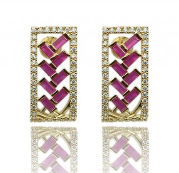 Pink Gold Rhodium Polish Plated Earrings