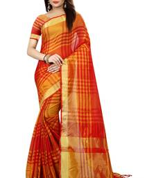 Buy Red printed faux kora saree with blouse ikat-saree online