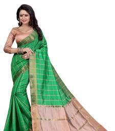 Buy Green woven cotton silk saree with blouse ikat-saree online