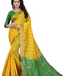Buy Yellow woven cotton silk saree with blouse ikat-saree online