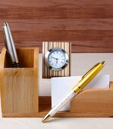 Buy Designer Pens with Wooden Stand Includes Clock with Pen Paper Holder office-opening-gift online