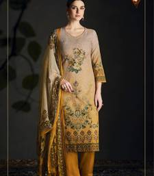 Buy Multi embroidered silk cotton blend semi stitched salwar with dupatta palazzo online