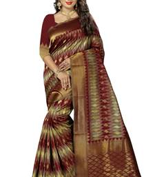 Buy Maroon woven kanchipuram silk saree with blouse kanchipuram-silk-saree online