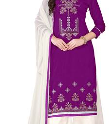 Buy Purple embroidered cotton salwar palazzo online