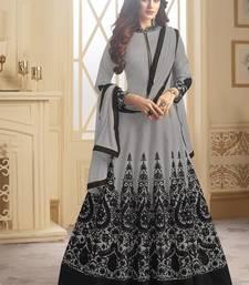 Buy Grey embroidered taffeta anarkali semi stitched salwar with dupatta anarkali-salwar-kameez online