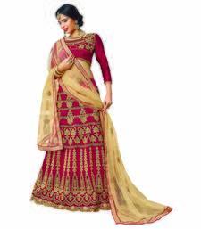 Buy Maroon embroidered silk semi stitched lehenga bridal-lehenga online