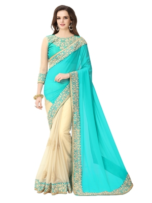 Beautiful Firozi color embroidered georgette wedding saree With embroidered work Blouse