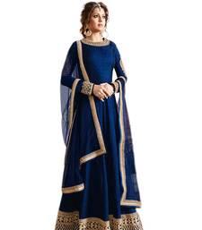 Buy Blue embroidered silk salwar anarkali-salwar-kameez online