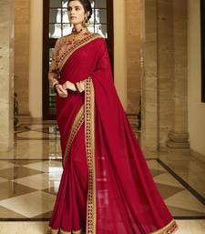 Buy Dark red embroidered silk saree with blouse designer-embroidered-saree online