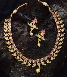 Buy Zirconia stones gold plated ruby necklace set necklace-set online