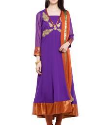 Buy Purple embroidered georgette salwar with dupatta plus-size-salwar online