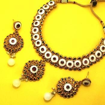 Designer Polki Necklace with Meena Finish Pure White