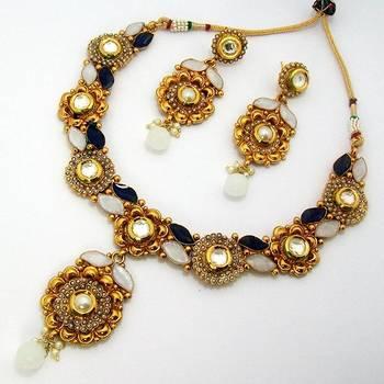 Designer Polki Necklace with Meena Finish Blue White