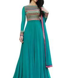 Buy SkyBlue embroidered georgette salwar with dupatta anarkali-salwar-kameez online
