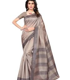 Buy Beige printed polycotton saree with blouse printed-saree online