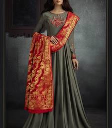Buy Dark Silver Rayon Anarkali Salwar Kameez anarkali-salwar-kameez online