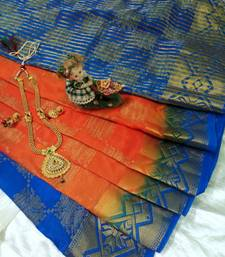 Buy Orange Raw Silk Fancy Brocade kichha saree with unstitch Blouse brocade-saree online