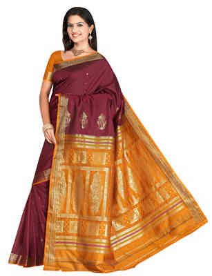 Magenta printed art-silk saree with blouse