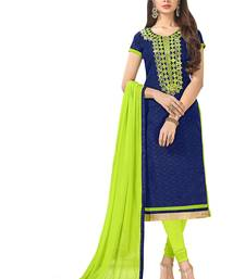 Buy Blue resham embroidery jacquard salwar dress-material online