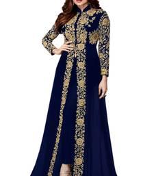 Buy Blue embroidered georgette salwar anarkali-salwar-kameez online