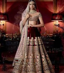 Buy Maroon Velvet Heavy Embroidered Lehenga Choli with Dupatta bridal-lehenga online