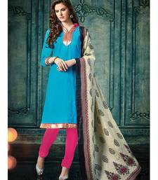 Buy Blue plain jacquard unstitched salwar with dupatta ethnic-suit online