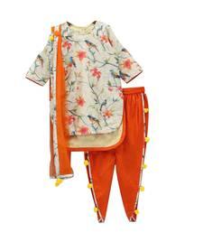 Buy Light Crème Digital Print Pure American Crepe Dhoti Pant Style For Girls Wear kids-salwar-suit online