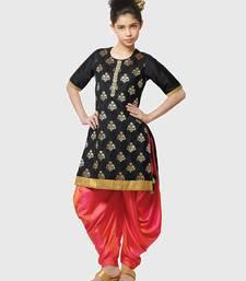 Buy Dark Black Paper Foil Print Heavy Dhupian Partywear Patiala Suit For Girls Wear kids-salwar-suit online