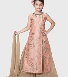 Buy Peach Embroidery Heavy Chanderi Silk Palazzo Style Salwar Suit For Girls Wear kids-salwar-suit online