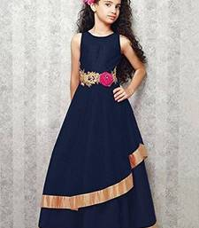 Buy Navy Blue Embroidery Satin Silk Festival Special Gown Dress For Kids Wear kids-girl-gown online