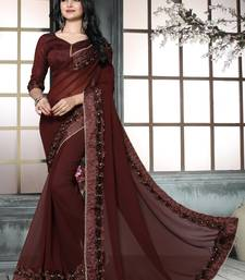 Buy Brown embroidered georgette saree with blouse Saree online