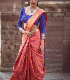 Buy Pink woven patola saree with blouse patola-saris online