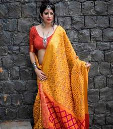 Buy Orange woven patola saree with blouse patola-saris online