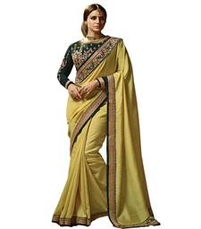 Buy Yellow embroidered faux silk
