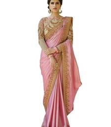 Buy Dark pink embroidered georgette