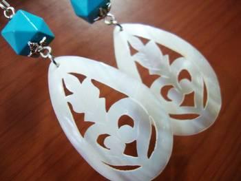 Shell and Aqua Blue Earrings