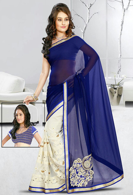 BLUE AND WHITE GEORGETTE EMBROIDERY WORKED HALF HALF SAREE WITH BLOUSE