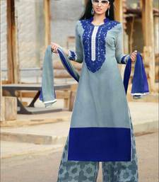 Buy Grey and blue designer semi stitched georgette palazzo suit with dupatta palazzo online