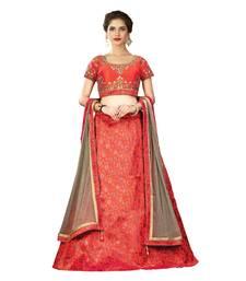 Buy Orange Color Silk Wedding Wear Semi Stitched Lehenga Choli With Blouse lehenga-choli online