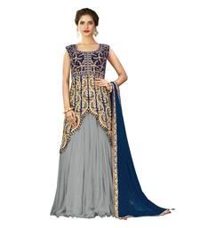 Buy Grey Color Chiffon Wedding Wear Semi Stitched Lehenga Choli With Blouse lehenga-choli online