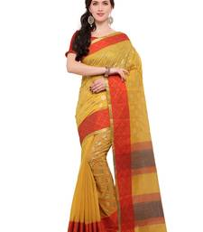 Buy Inddus yellow chanderi cotton foil print saree with blouse cotton-saree online