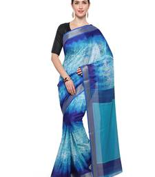 Buy Inddus light blue cotton blend printed saree with blouse cotton-saree online