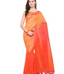 Buy Inddus orange art silk solid saree with blouse art-silk-saree online