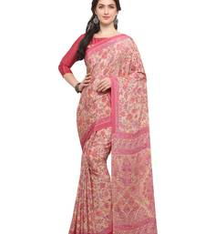 Buy Inddus pink and cream printed saree with blouse crepe-saree online