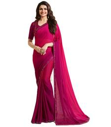 Buy Pink plain silk saree with blouse bollywood-saree online