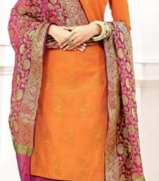 Buy Orange embroidery and brocade chanderi and cotton unstitched salwar kameez with dupatta dress-material online