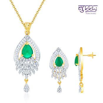 Sukkhi Fancy Gold and Rodium plated Emer