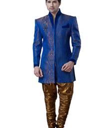 Buy Blue Brocae Art silk Embroidered Indowestern Suit wedding-season-sale online