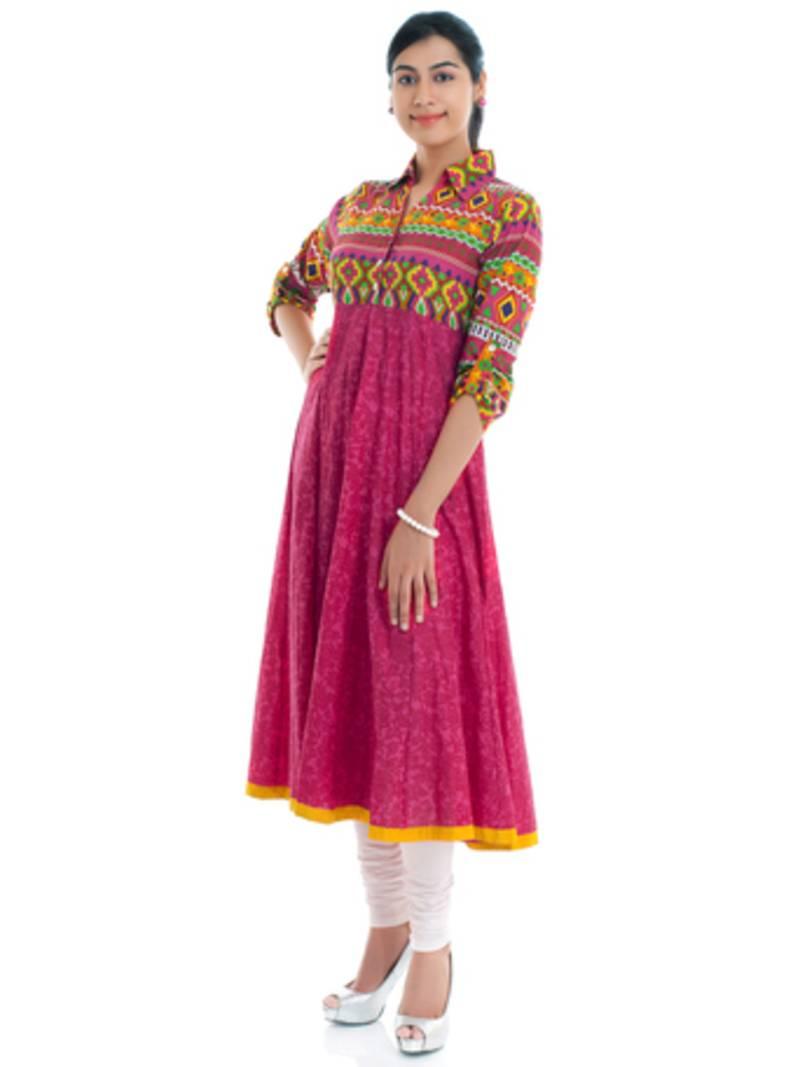 Buy Cotton Pink Shirt Anarkali Kurta Online